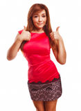 Brunette girl yes woman shows positive sign thumbs Stock Photo