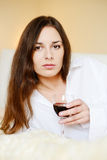 Brunette with glass of wine Royalty Free Stock Photography