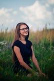 Brunette in glasses Royalty Free Stock Images