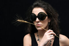 Brunette with glasses and wheat Royalty Free Stock Photography