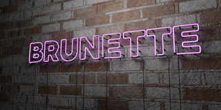 BRUNETTE - Glowing Neon Sign on stonework wall - 3D rendered royalty free stock illustration Stock Photo