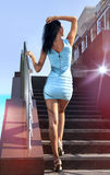 Brunette Goes On Steps Royalty Free Stock Photos