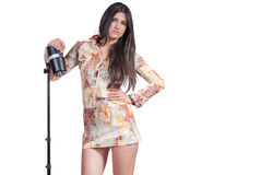 Brunette good looking fashion model over white background Royalty Free Stock Photos