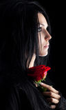 Brunette Goth Woman With Rose Portrait Stock Images