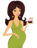 Brunette grávido atrativo que prende um queque ilustração royalty free