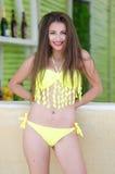 Brunette Greek woman in bikini Stock Image