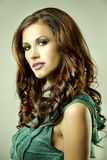 Brunette and green dress Royalty Free Stock Photo