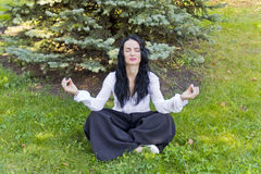 Brunette on green grass in yoga pose Royalty Free Stock Photography