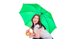 Brunette with a green umbrella Royalty Free Stock Photography