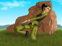 Brunette-guerrier dans l'abri illustration stock
