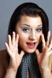 Brunette hablador emocionado hermoso (2) Foto de archivo libre de regalías