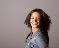 Brunette Hair Across Face Royalty Free Stock Images