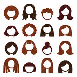 Brunette hair styles, wigs icons set - women Stock Images