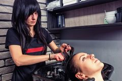 Brunette hairdresser combing hair of young beautiful woman in wa Royalty Free Stock Photography