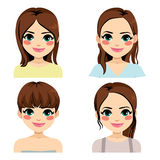Brunette Hairstyle. Beautiful young brunette woman with different hairstyle royalty free illustration
