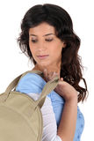Brunette with handbag Stock Photo