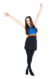 Brunette with hands up, celebrating victory Stock Image