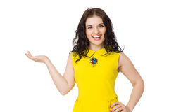 Brunette happy girl with curly hair wearing yellow blouse Stock Photo