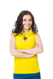 Brunette happy girl with curly hair wearing yellow blouse and bl Royalty Free Stock Images