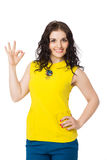 Brunette girl showing ok sign Royalty Free Stock Images