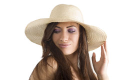 Brunette with hat Royalty Free Stock Photography
