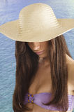 Brunette with hat Stock Photos