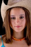 Brunette with hat. Beautiful latin girl royalty free stock image