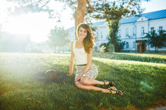 Brunette in hat with large fields Royalty Free Stock Image
