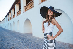 Brunette in hat with large fields Stock Image