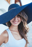 brunette in hat with large fields royalty free stock photos