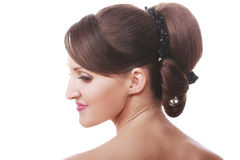 Brunette head and shoulders Stock Images