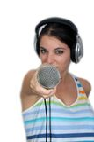 Brunette with Headphones and a Microphone (3) Stock Photo