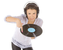 Brunette in headphones with vinyl record Stock Photography