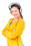 Brunette  with headphones Stock Photos