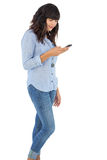Brunette with her mobile phone texting a message Stock Photos