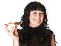 Brunette hermoso de la muchacha con la pizza Imagen de archivo libre de regalías