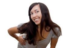 Brunette heureux au loin de sourire Photos libres de droits