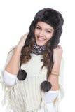Brunette heureux avec le chapeau de fourrure Photo stock
