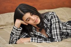 Brunette Hispanic Teenager Thinking. Royalty Free Stock Photos