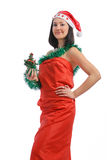 Brunette holding a christmas tree Stock Photo
