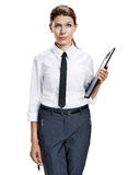 Brunette holding clipboard and pen Royalty Free Stock Photo