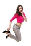 Brunette holding her heel Stock Photo