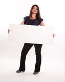 Brunette holding message board Royalty Free Stock Photos