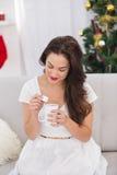 Brunette holding mug with marshmallow at christmas Stock Photos