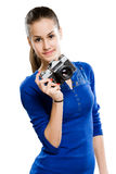 Brunette holding photo camera Royalty Free Stock Image