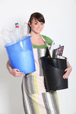 Brunette holding recyclable plastic Royalty Free Stock Image