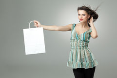 Brunette holding shopping bag Royalty Free Stock Image