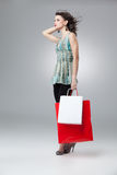 Brunette holding shopping bags Royalty Free Stock Photography