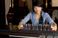 Brunette hostess aligning shot glasses on the bar. Attractive brunette hostess aligning shot glasses on the bar in a fancy location royalty free stock images