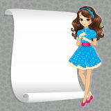 Brunette Housewife With Banner. Vector illustration of beautiful brunette housewife girl with white banner for your text Royalty Free Stock Photography